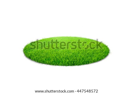 Grass circle isolated on white background