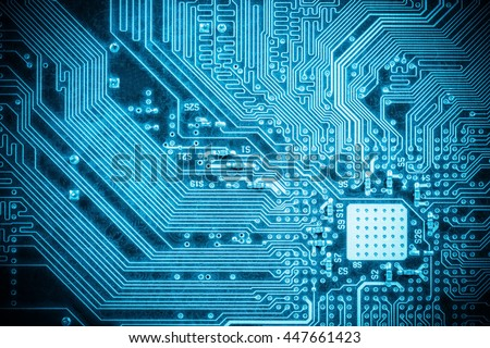 blue circuit board closeup, abstract high tech background #447661423