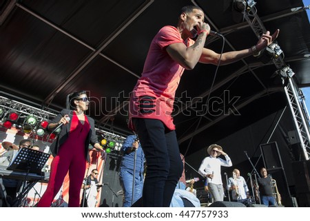 Amsterdam, The Netherlands - July, 3 2016: concert of Cuban band Elito Reve y su Charangon at Amsterdam Roots Open Air, free public cultural festival held in Oosterpark #447757933