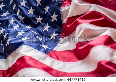 Close-up American flag studio shot. #447791416