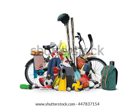 Sports equipment has fallen down in a heap Royalty-Free Stock Photo #447837154