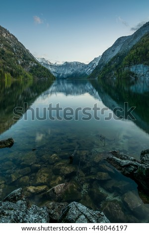 Lake Koenigssee in the Alps of Bavaria at dusk, Berchtesgadener Land in Germany #448046197