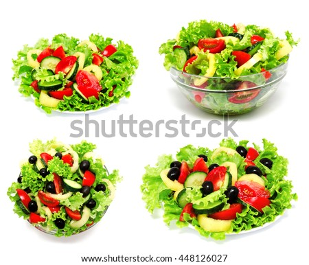 Collection of photos fresh vegetable salad isolated on a white background #448126027