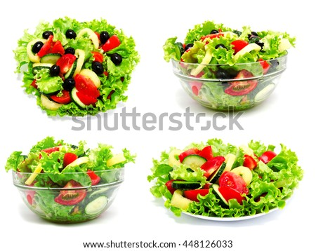 Collection of photos fresh vegetable salad isolated on a white background #448126033