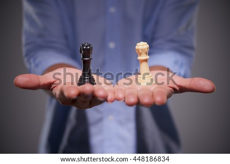 Close-up image of male hands with chess figures #448186834