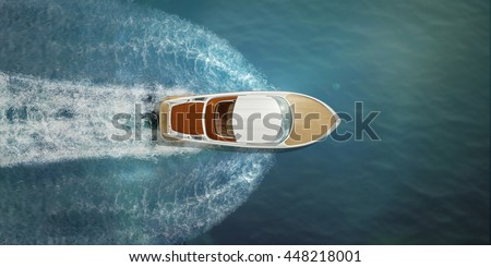 Speed boat at sea, view from above #448218001