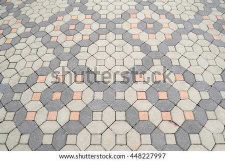 Square pattern brick flooring - outdoor area #448227997