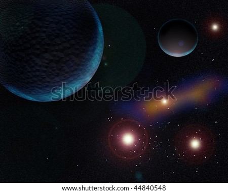 Picture  Galaxy planets and stars emit soft light #44840548
