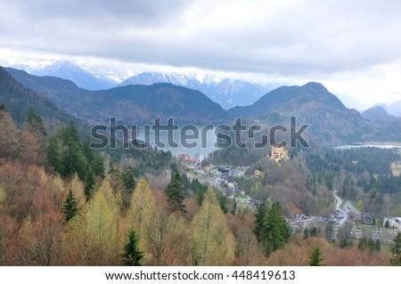 Hohenschwangau and Alpsee Lake seen from Neuschwanstein Castle #448419613