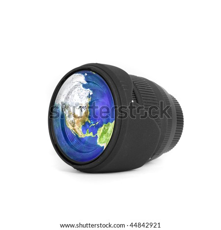 Lens with Earth reflected isolated on a white #44842921
