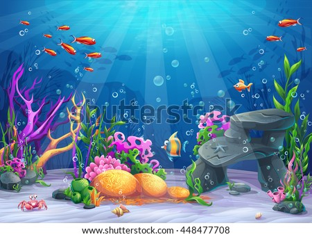 Marine Life Landscape - the ocean and underwater world with different inhabitants. For print, create videos or web graphic design, user interface, card, poster.