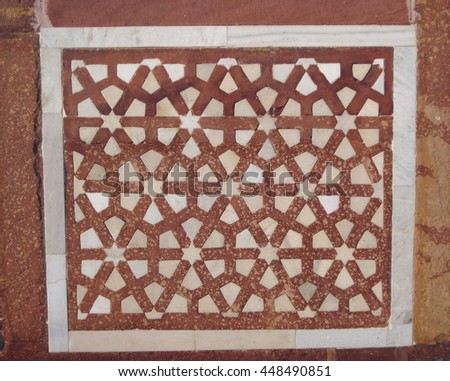 Agra, Uttar Pradesh, India - October 2011: Detail of the mosque at the Tomb of Itimad-ud-Daulah. #448490851