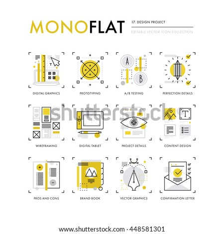 Infographics icons collection of digital graphics content making, design project workflow. Modern thin line icons set. Premium quality vector illustration concept. Flat design web graphics elements.