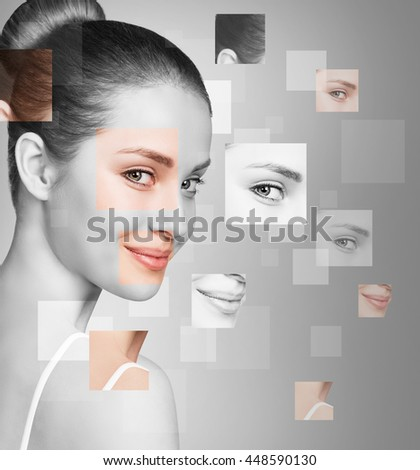 Perfect female face made of different faces #448590130