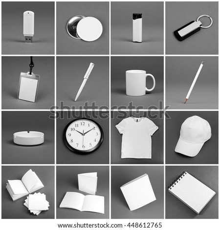 Set of white elements for corporate identity design on a grey background #448612765