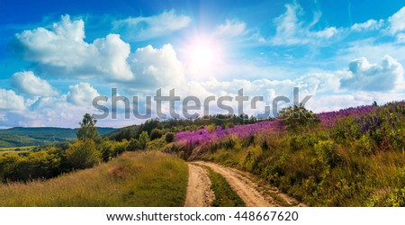 fantastic view. ideal sky with clouds. over mountain road and field with lupin flowers. picturesque scene. breathtaking scenery. wonderful landscape. use as background. original creative images #448667620