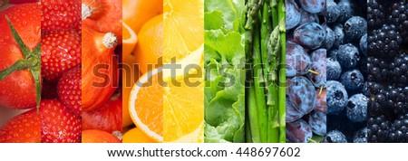 Healthy food backgrounds, ten images of strawberries, lemons, asparagus, tomatoes, plums, blueberries, pumpkins, lettuce, blackberries and oranges #448697602