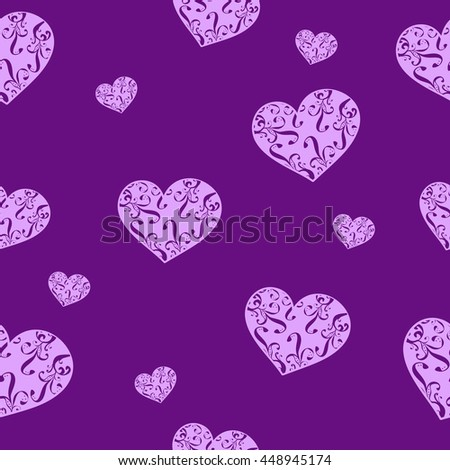Seamless pattern with hearts. Abstraction. Love. Celebration. Textile #448945174
