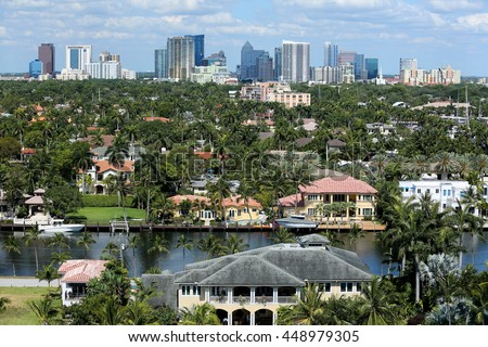 Aerial view of Fort Lauderdale's skyline, intracoastal waterways and surrounding waterfront homes #448979305