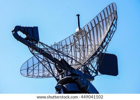 military radar air surveillance on navy ship Royalty-Free Stock Photo #449041102
