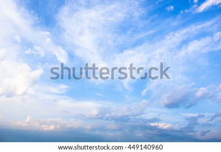 Blue sky with lots of white clouds #449140960