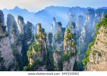 Landscape of Zhangjiajie. Taken from Old House Field. Located in Wulingyuan Scenic and Historic Interest Area which was designated a UNESCO World Heritage Site as well as AAAAA scenic area in china. Royalty-Free Stock Photo #449250082
