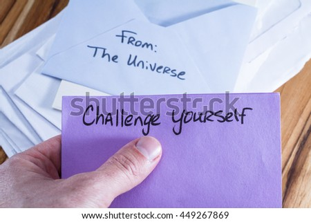 concept for a self esteem building exercise using an envelope and a empowering message #449267869
