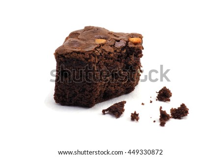 chocolate walnut brownies on white background. #449330872