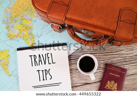 Travel Tips, Holiday Tips, Tips for Travelling, Travel Blog Content. Suitcase, Coffee, Passport, World Map.
