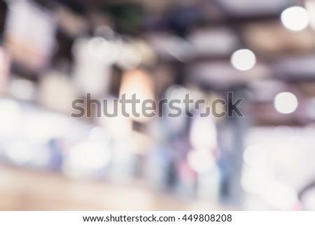 Blurred background ,Customer in restaurant with bokeh light,Vintage filter. #449808208