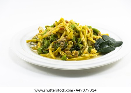 Thai food Pad-Ped  hot and spicy menu isolated.Raw  material used is garlic and chili and bamboo shoot and yard long bean  and fish sauce and sugar and etc.It very delicious. #449879314