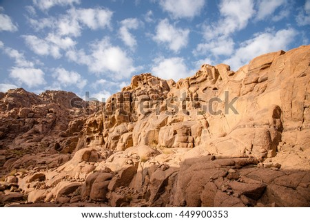 beautiful landscape in the mountains of Sinai at dawn #449900353
