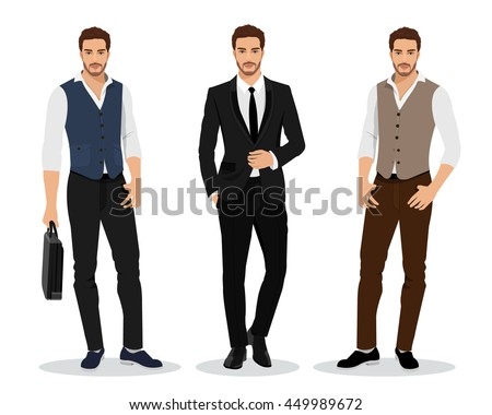 Stylish high detailed graphic businessmen set. Cartoon male characters. Men in fashion clothes. Flat style vector illustration.  Royalty-Free Stock Photo #449989672