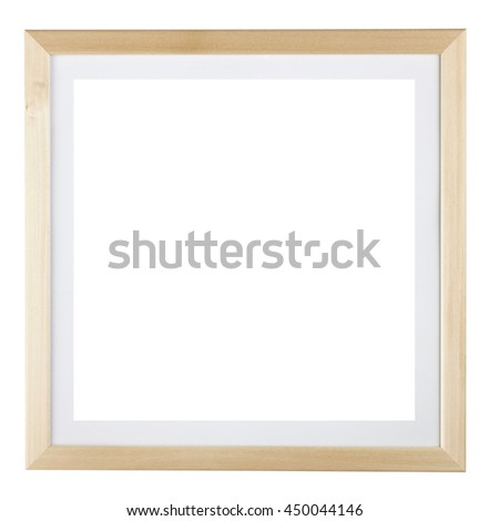Wooden square picture frame isolated on white background. Include clipping path.