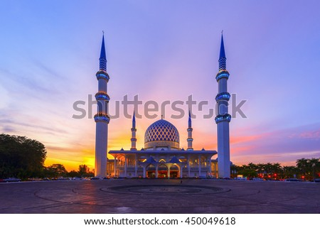 The Vibrant Color of Shah Alam Mosque / Salahuddin Abdul Aziz Shah mosque during dramatic. #450049618