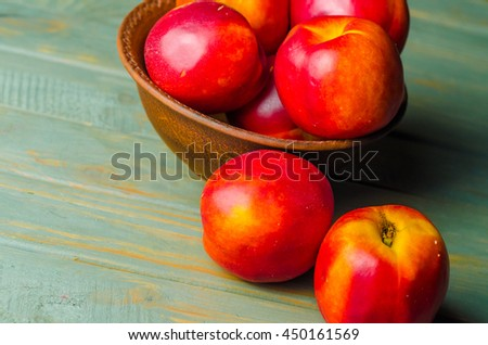 close up of ripe nectarine #450161569