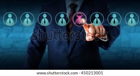 Corporate security manager identifies a potential insider threat in a line-up of eight white collar workers. Hacker or spy icon lights up purple. Cybersecurity and human resources challenge concept. Royalty-Free Stock Photo #450213001