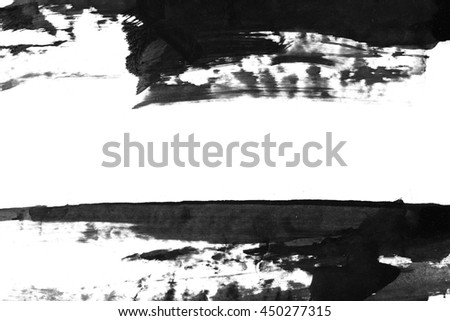 Abstract background. Chinese ink. Black stain on watercolor paper. #450277315