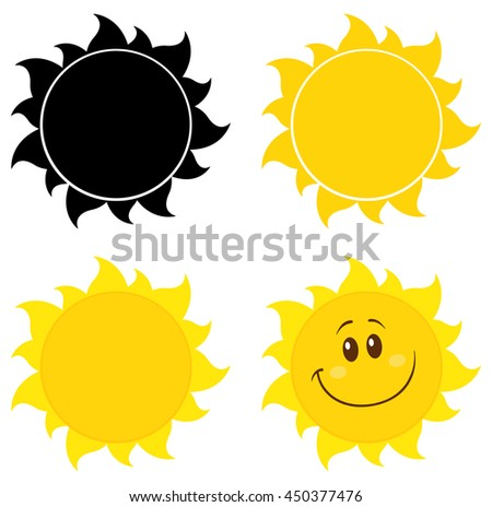 Cartoon Yellow Simple Suns. Set Raster Collection Isolated On White