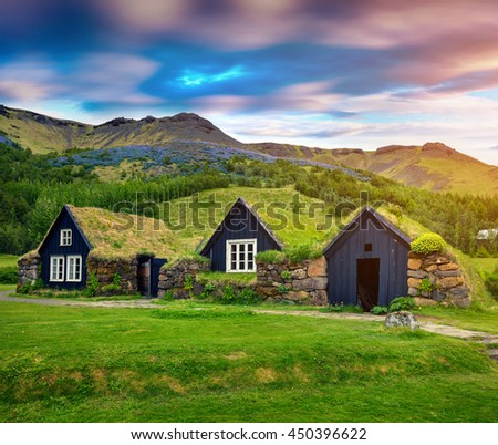 Typical view of Icelandic turf-top  houses. Colorful summer morning in the Skogar village, south Iceland, Europe. Artistic style post processed photo. #450396622