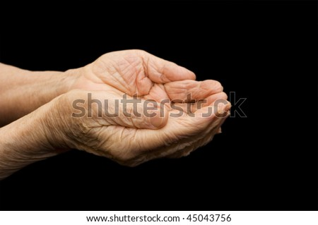 The old hands begging on the black #45043756