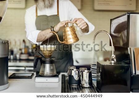 Barista Prepare Coffee Working Order Concept #450444949
