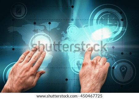 Hands pointing and presenting against abstract background #450467725