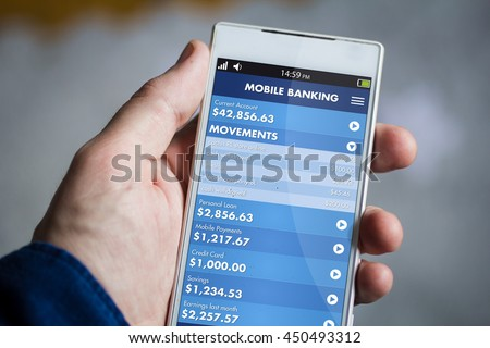 man hand holding mobile banking smartphone. All screen graphics are made up. #450493312