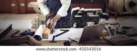 Carpenter Craftsmanship Carpentry Handicraft Wooden Workshop Concept #450543016