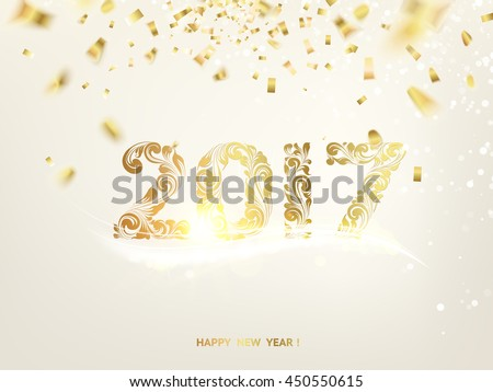 Happy new year card. Gold template over gray background with golden sparks. Happy new year 2017. Gray space abstraction. Fallen sparks and sun rays in the gray area. Vector illustration. #450550615
