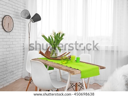 Beautiful interior with table and chairs #450698638