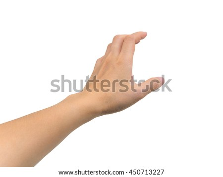 Human hand in picking gesture isolate on white background with clipping path #450713227