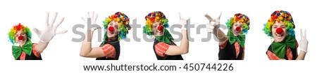 Female clown isolated on white #450744226