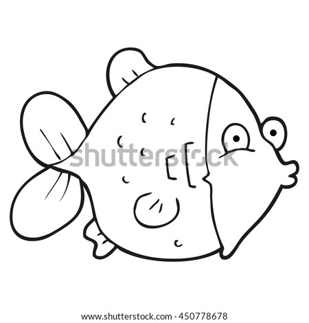 freehand drawn black and white cartoon funny fish